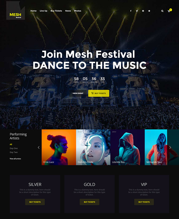 Music, Events, Clubs Theme