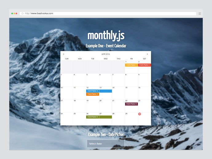 Monthly Calendar Using Javascript : Best jquery event calendar plugins web graphic