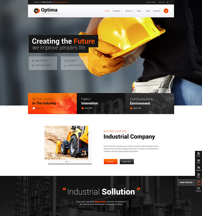 Optima Industrial WordPress Theme