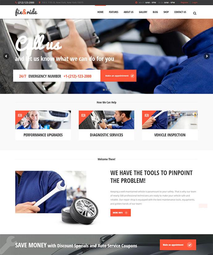 Fix & Ride Automechanic & Car Repair Theme