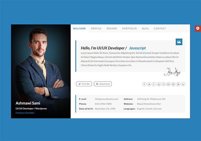 Riche vCard | Personal vCard HTML Template