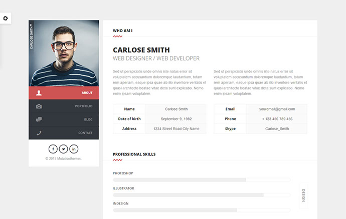 20 Best Personal Vcard Resume Html Templates Web Graphic