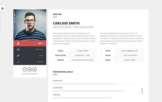 Split : Personal CV/Vcard Template
