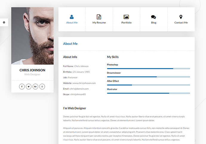 Personal Vcard Resume & Cv Html Template