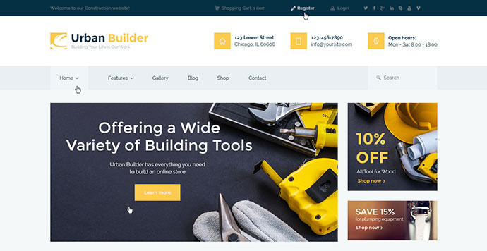 Urban Builder | Construction WordPress Theme