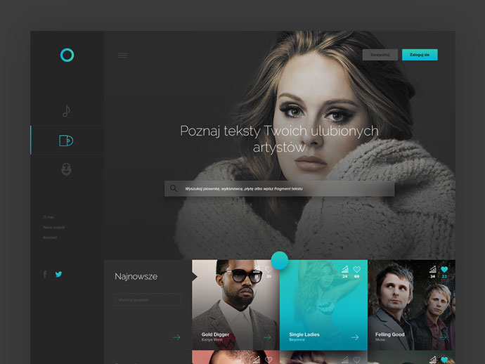Music/Lyrics Webpage by Michal Parulski
