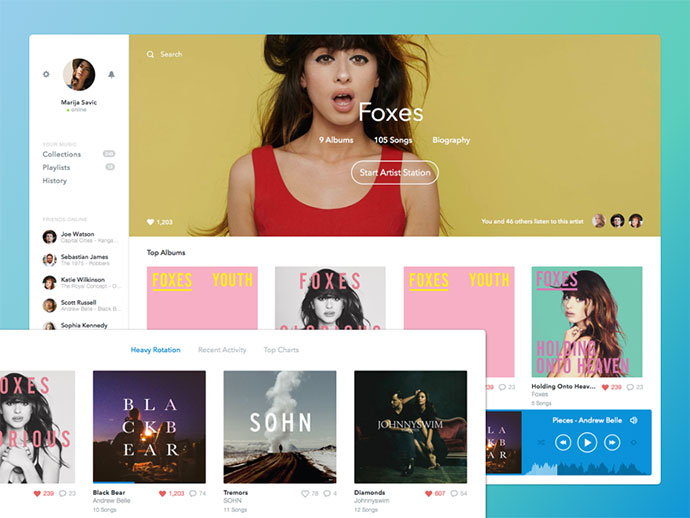 Rdio Redesign by Andres Jasso