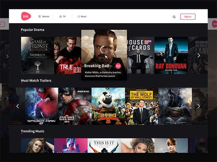 Viu Design Test (for streaming programs or movies) by Prakhar Neel Sharma