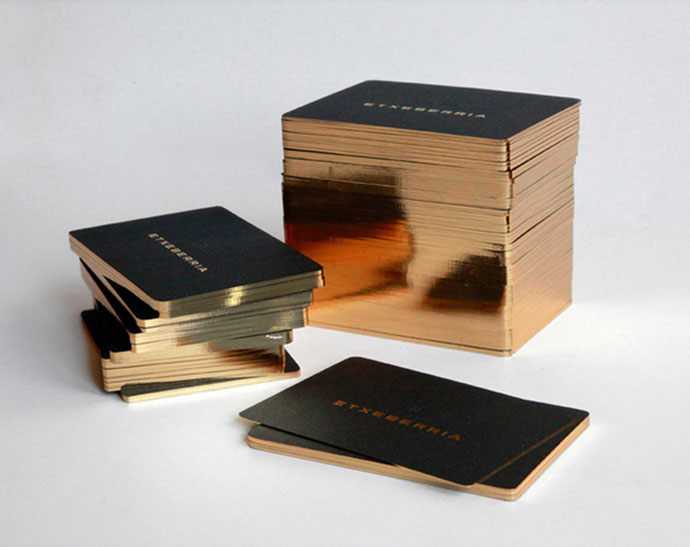 Business Card Design with golden edge printing