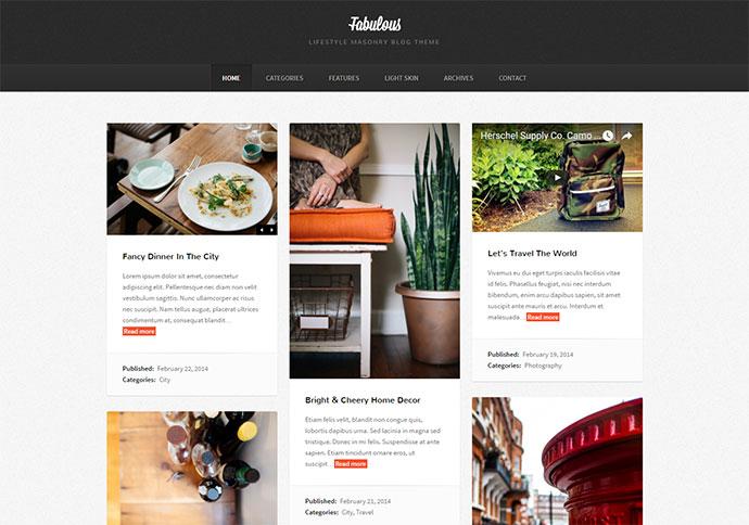 Modern masonry blog theme with a classic style