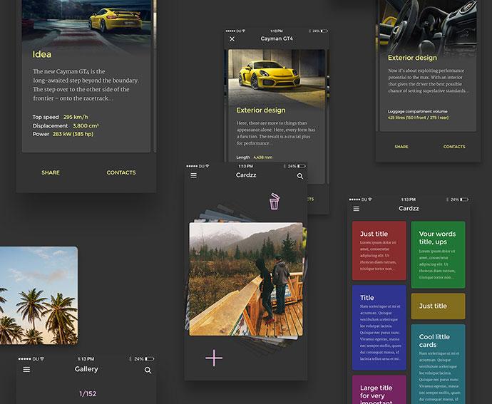 Cardzz | free iOS UI Kit