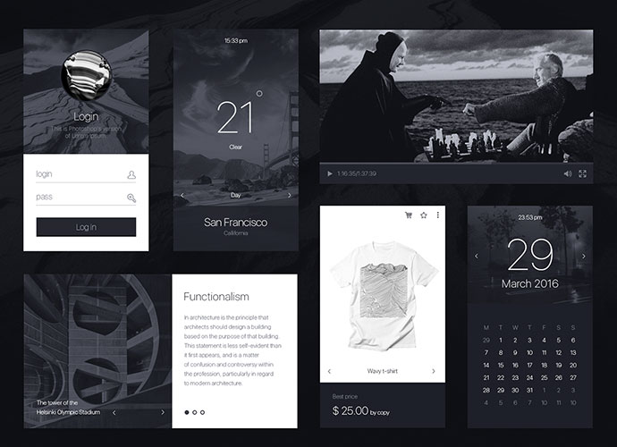 mOnochrome - Free UI KIT
