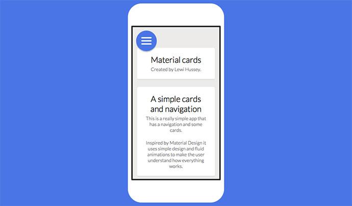 Material design cards & nav