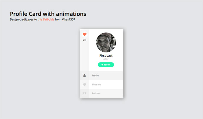 Profile card with animations