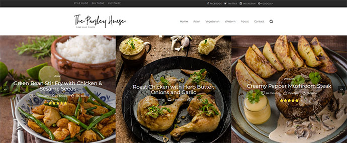 Parsley - A Recipe WordPress Blog Theme