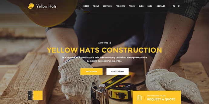 Yellow Hats - Construction Business PSD Template