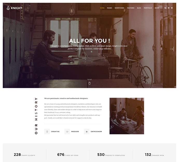Knight - Corporate and Shop PSD Template