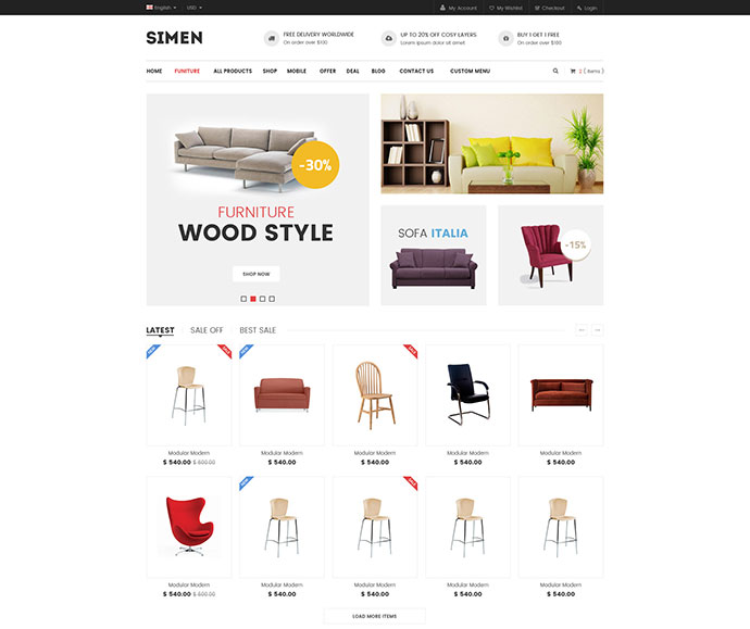 Simen - Furniture Store E-Commerce PSD