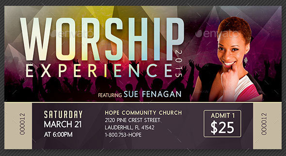 Worship Concert Ticket Template  Concert Ticket Design