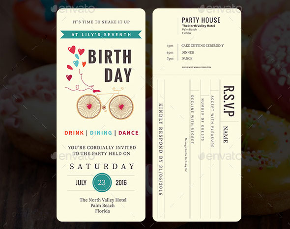 Ticket Birthday Party Invitation