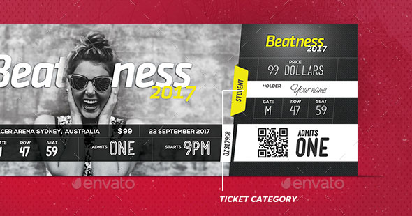 Psd Ticket Template Kleobeachfixco - Event ticket template photoshop