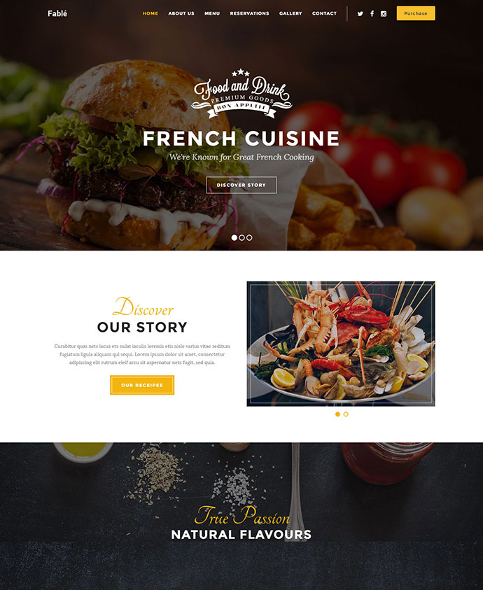 Fable Restaurant Site Template