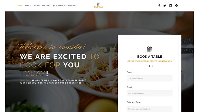 Comida Restaurant Bakery Cafe HTML Template