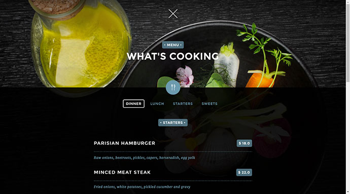 unique mobile first restaurant template