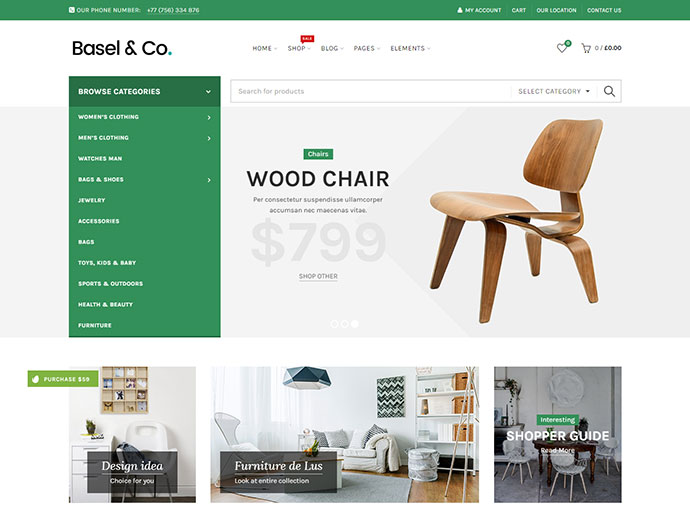 25 best furniture interior ecommerce wordpress themes web graphic design bashooka for Interior design wordpress theme