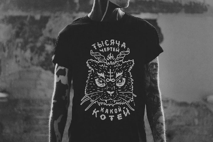 A thousand devils, that a kitty / Hand Printed T-shirt