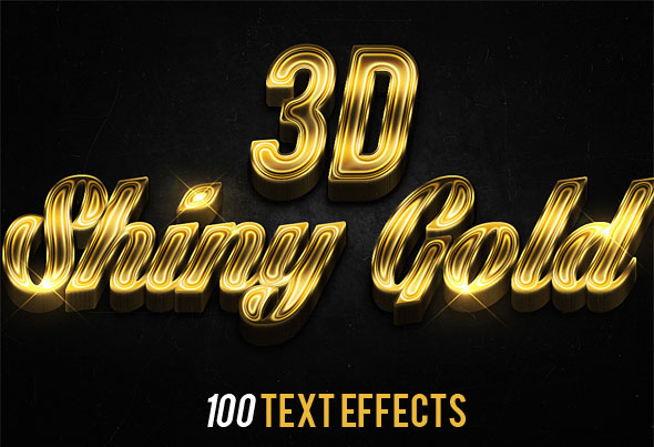 3D Shiny Gold Text Effects