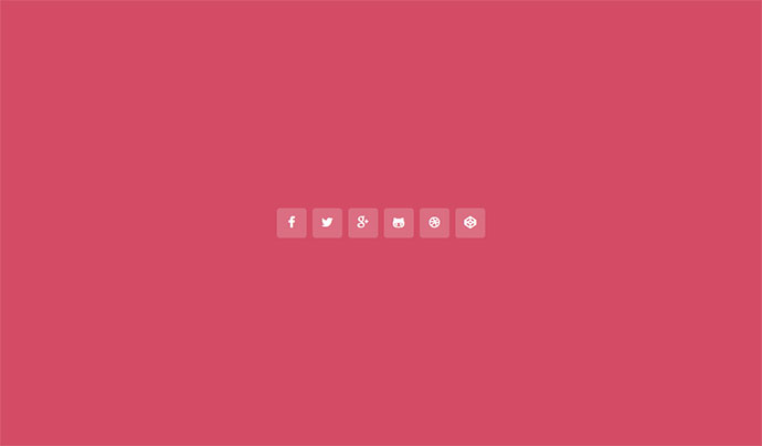 Social media hover icons with pop-up titles