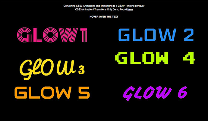 GSAP animate onHover multiple CSS3 text-shadow for Neon Glow effect (HOVER).