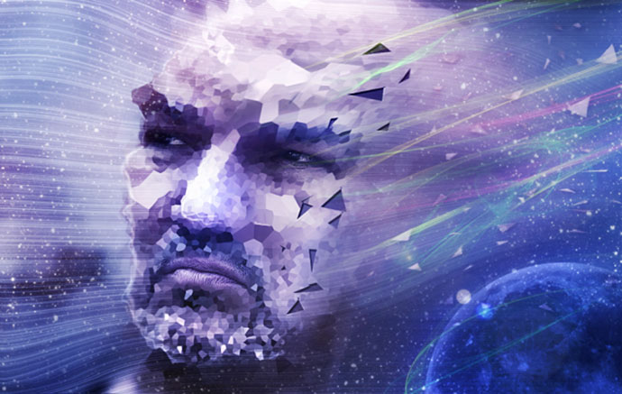 Striking Photo Manipulation of a Face Distorted in Space