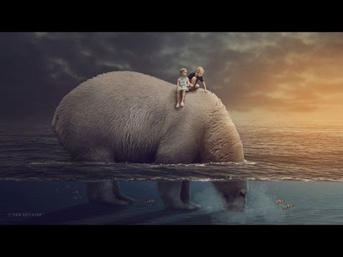 Bear Under Water Surreal Manipulation