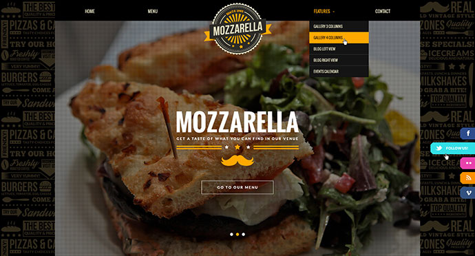 Mozzarella Cafe Bar PSD Template