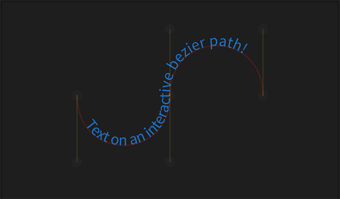 SVG text on an interactive bezier path.
