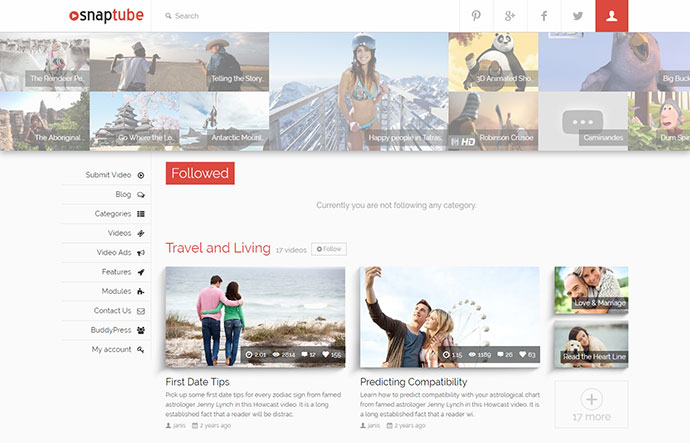 Snaptube - Premium Video WordPress Theme