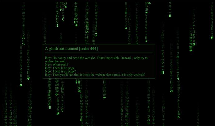 Matrix Rain 404 Page