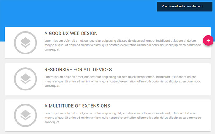 Material design template cards
