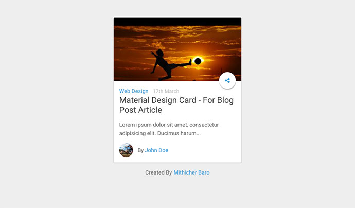 Material Design Card - For Blog Post Article