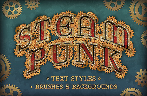 Steam Punk Text Styles + Brushes & Backgrounds