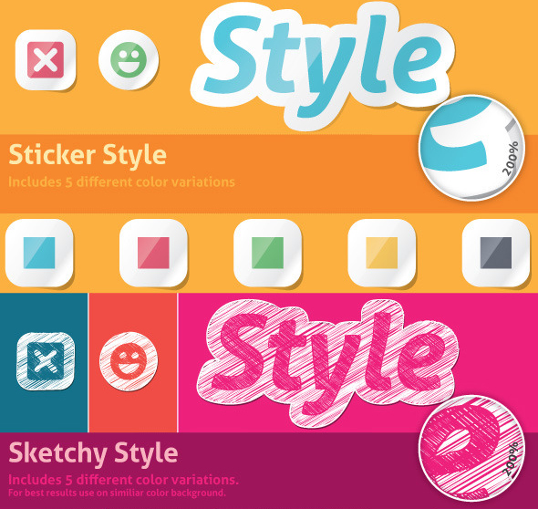 Sticker & Sketchy Illustrator Styles