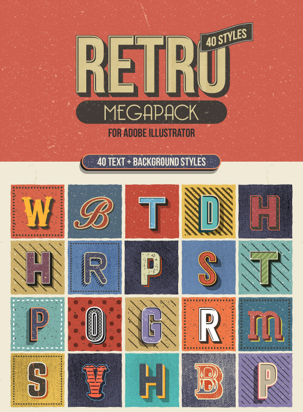Retro Megapack for Illustrator