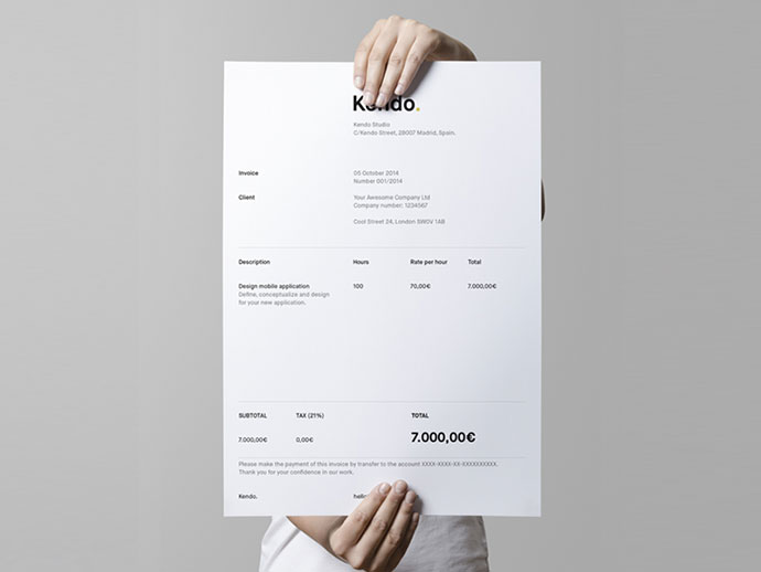 Kendo's invoice