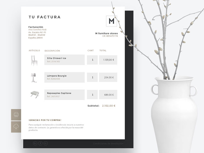 Invoice. E-commerce furniture