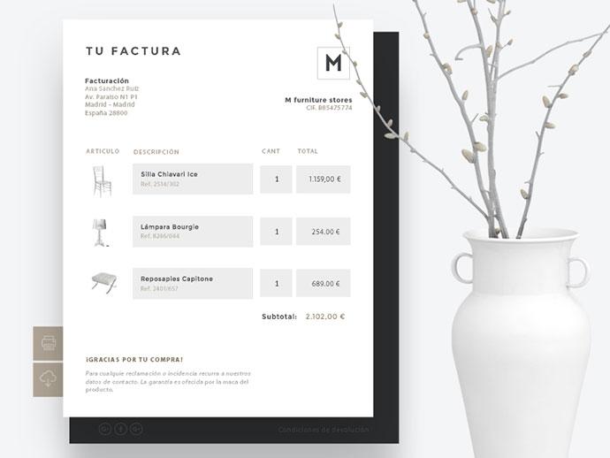 Invoice. E-commerce furniture