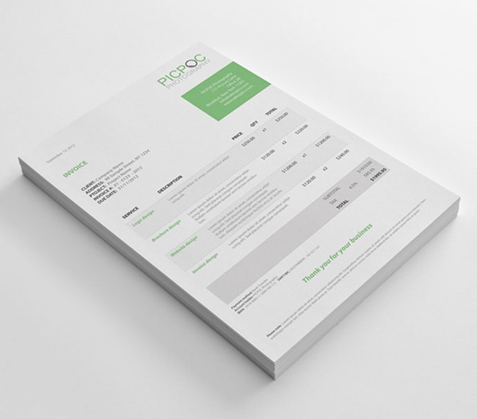 Clean & Modern Stationary, Invoice and Identity