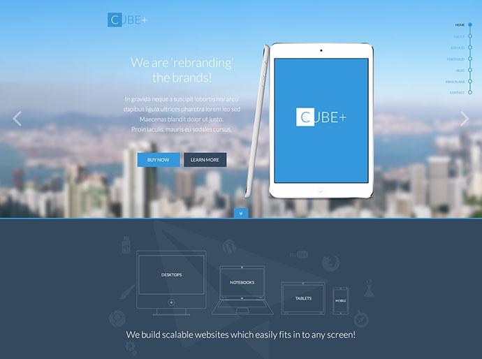 Cube+ Multi-Purpose Parallax PSD Landing Page