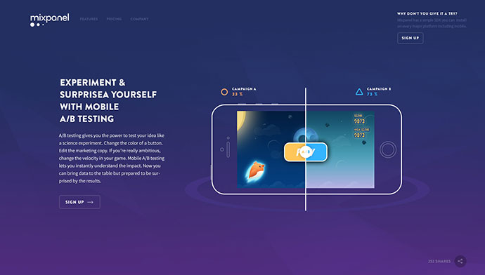 New Landing page design for Mixpanel
